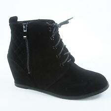 Women's  Quilted Lace Up Zipper High Top Ankle Low Wedge Booties Size 5.5 - 11