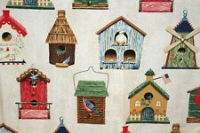 Bird Houses Cotton Shower Curtain Country Cottage Americana