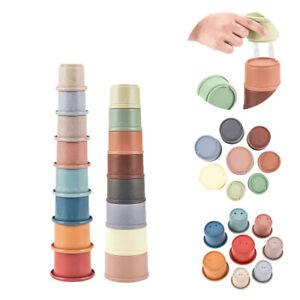 Stapelturm Pyramide mit 8 Becher Stapelspiel Lernspielzeug für Babys ab 6 Monate