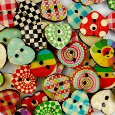 50pcs Bulk Mixed Hearts Shape Wood Flatback/Buttons Lots Sew Craft Cards 13X15mm