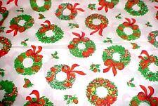 Retro Christmas fabric Cardinal Birds Pinecone Fruit Wreaths Cranston 1.2 Yd 60w