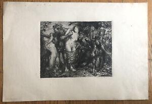 Signed 1917 Original INTAGLIO ETCHING - Bacchus Women Satyr-original PRINT