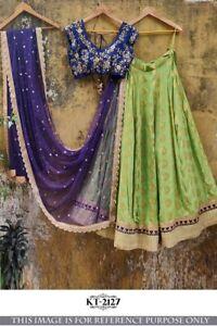 Indian Lehenga Ghagra Choli for Girls Wedding Reception Wear Green Chaniya Choli