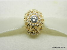 NEW!  AUTHENTIC PANDORA CHARM  FLORAL BRILLIANCE 14K   #750836CZ HINGED BOX