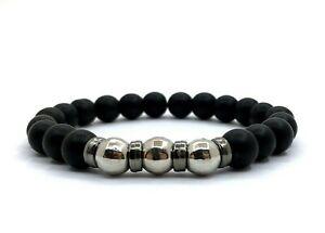 Herren Armband Perlen 8mm ONYX MATT Schwarz Armkette Modeschmuck NZ213