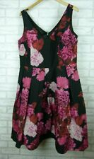 City Chic fit & flare dress pleated black pink floral print size S, 16