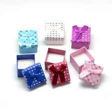 24PCS Bowknot Cardboard Jewelry Boxes For Ring Display Square Mixed Color 5cm