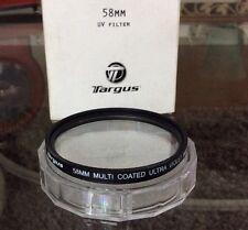 TARGUS 58mm High Definition Multi Coated UV Filter w/Plastic Protective Case NIB