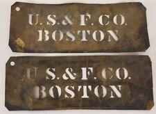 Antique Pair Brass Barrel Crate Stencils U.S. & F. Co. Boston 12.25X4.5 Inches