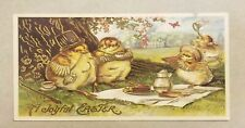 Vintage Anthropomorphic Gold Embossed Bird Easter Postcard Collectible