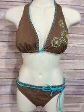 JOE BOXER Brown Floral String Bikini 2 Piece Swimsuit Two Sizes Top L Bottom S