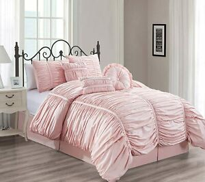 7 Piece Comforter Ruched Pleated Elegant Ruffled Bedspread Chic Bedding Set Gift