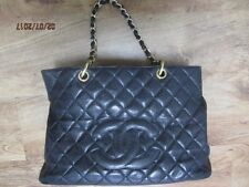 W/Card Authentic Chanel GST Grand Shopping Tote Black Caviar Logo Leather