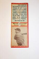 #6788A,Rare Vintage Matchbook Cover Cleve Indians Baseball Milton Galatzer 1935