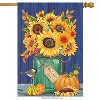"Fall Mason Jar Sunflowers House Flag Autumn Floral 28"" x 40"" Briarwood Lane"