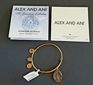 Alex and Ani Guardian of Peace 2015 Charm Bracelet Rafaelian Gold Wire NWT