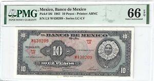 P-58i 1961 10 Pesos, Mexico, Banco de Mexico, PMG 66EPQ Nice!