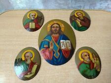 RARE Vintage Icon Orthodox painting on Metal Copper Religion Furniture on book