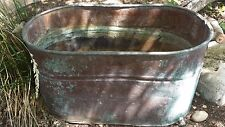 Antique Vintage Copper Boiler Wash Tub Great Patina Wood Handles No Lid Steampun