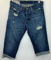 Abercrombie Mens Size 30 Jeans Distressed Cut for Womens DIY Shorts Blue Button