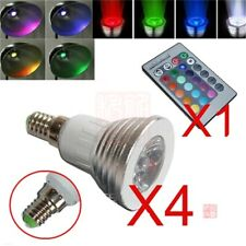 4x E14 3W 16 Color Changing RGB LED Light Bulb Lamp 85-265V+IR Remote Control