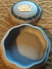 """Wedgwood Unusual Dark Blue on Blue 5"""" Scalloped Box with Lid"""