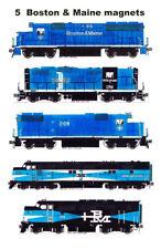 Boston & Maine Blue Locomotives Set of 5 magnets Andy Fletcher