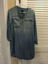 JCrew Long Sleeve Light Wash Denim Shirt Dress Size Small