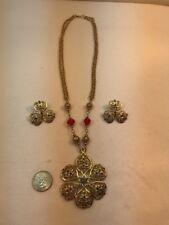Vtg Red Bead Rhinestone Large Filigree Amulet Gold Tone necklace Post Earrings