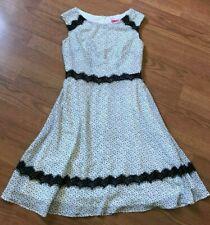 BETSEY JOHNSON DRESS POLKA DOT LACE FLARE SLEEVELESS BLACK WHITE SIZE 2 *Y