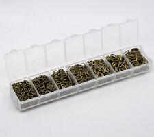 1 Boîte Mixte Anneaux Ouverts Couleur Bronze 4-9mm