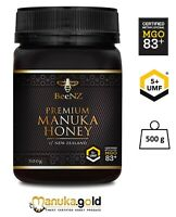 Aktiver Manuka Honig 80+ BeeNZ | aus Neuseeland | MGO 83 mg/kg UMF™5+ 500g