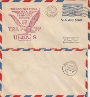 US 1950 FAM27 FIRST FLIGHT FLOWN AIR MAIL COVER PHILADELPHIA - FRANKFURT GERMANY