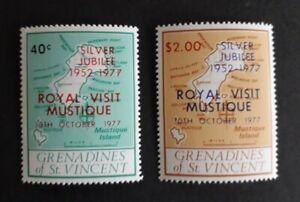 St Vincent Grenadines Royal Visit to Mustique 1977 2 stamps