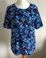 Tu Size 12 Ladies Short Sleeve Blue Top With Blue, White & Red Print Detail