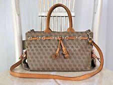 DOONEY & BOURKE Khaki Tan Signature Denim Leather Small Satchel Shoulder Handbag