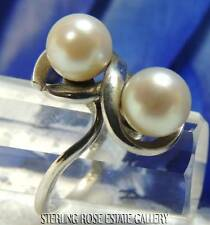 THE ORGANIC STONE - DOUBLE PEARL STERLING SILVER 925 RING size 7