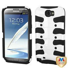 Samsung Galaxy Note II 2 Hybrid FISHBONE Rubberized Case Phone Cover White Black