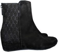$495 Aquatalia-Marvin K  Quilted Suede Boots Inner Small Wedge Ankle Bootie 8