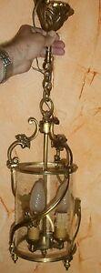 Lanterne bronze doré style Louis XV - Superbe lustre / suspension à 3 lumières !