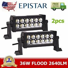 "Pair 8"" inch 36W LED WORK FLOOD BEAM LIGHT BAR OFFROAD DRIVING Motorcycle LAMP"