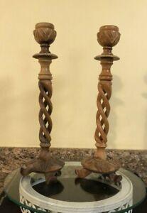 """Vintage Hand Carved Wooden Spiral Twist Candlesticks 13.5""""  (Set of 2)"""