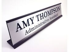 Desk name plate personalized silver with black aluminum holder large 2 x 10 inch