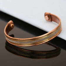 Bracelet Unisex Cuff Link Copper Magnetic Pain Relief Therapy Healing Bangle
