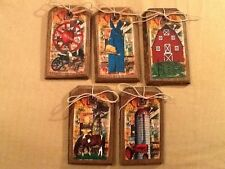 5 WOODEN Country FARM Ornaments/HangTag/Ornies/GiftTags BARN,HORSE,TRACTORSetKV1