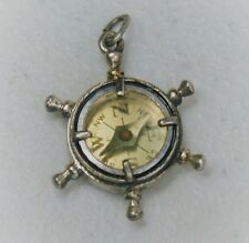 Vintage Beau Sterling Silver Nautical Compass Ship Wheel Charm