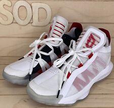 56 Adidas EH2069 Dame 6 White Scarlet Mens Basketball Shoes Damian Lillard 9.5