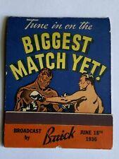1936 Vintage giant feature matchbook Boxing Match Joe Louis vs. Max Schmeling