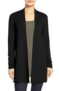 NEW Eileen Fisher Ultra Fine Merino Straight Long Cardigan Black size S $318