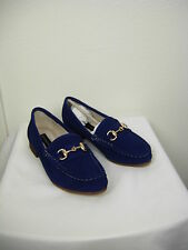 NWT $109 Steven Surrey Loafer Navy Blue Suede with Gold Hardware Size 6